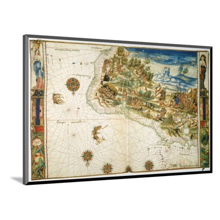 - Brazil: Map And Native Indians Wood Mounted Print Wall Art