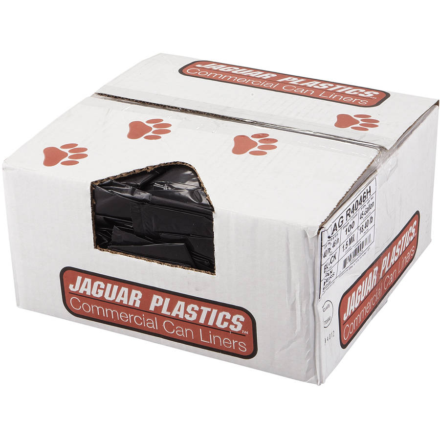 Jaguar Plastics Black Repro Low-Density Can Liners, 100 count