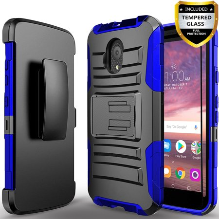 Alcatel TCL LX Phone  Case, Dual Layers [Combo Holster] Case And Built-In Kickstand Bundled with[Tempered Glass Screen Protector]And Circlemalls Stylus