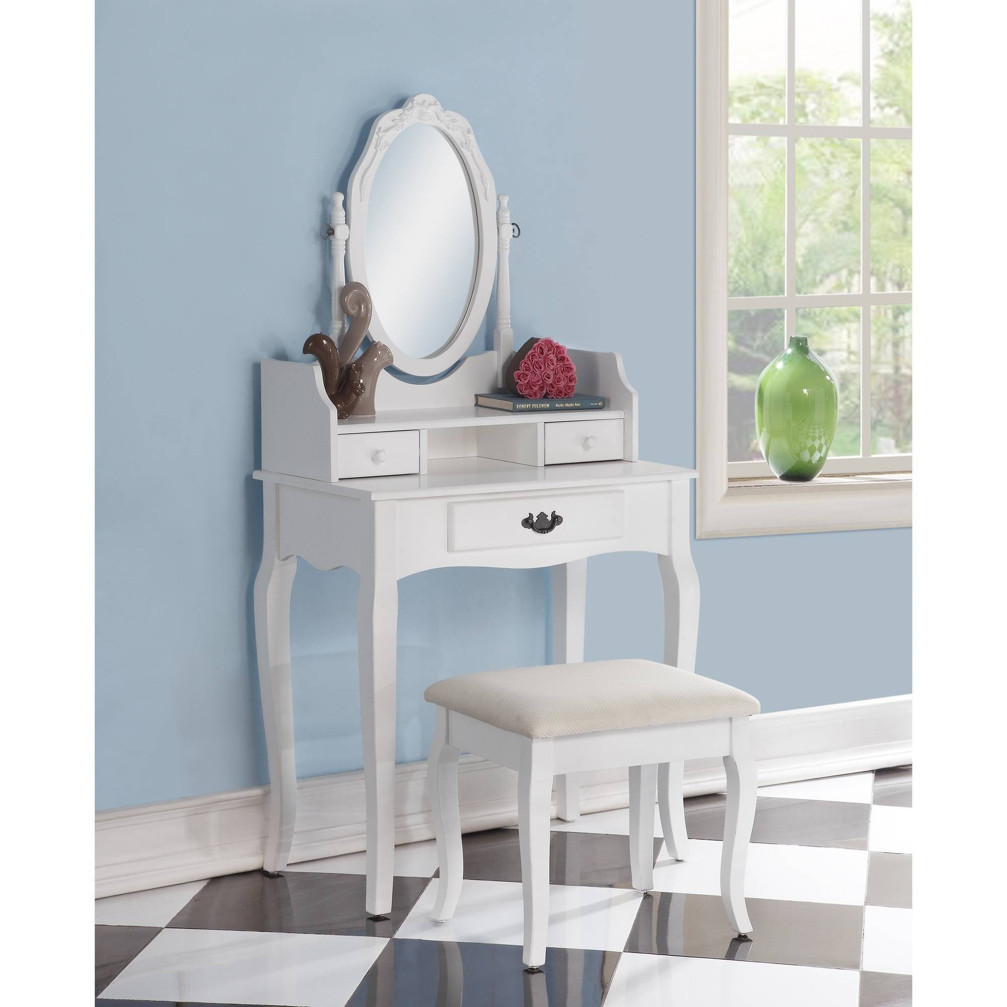 Elegant Roundhill Ribbon Wood Make Up Vanity Table And Stool Set, Multiple Colors  Available