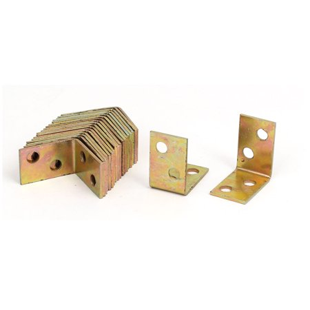 (25mmx25mmx16mm Iron Square End Corner Brace Angle Brackets Brass Tone 20pcs)