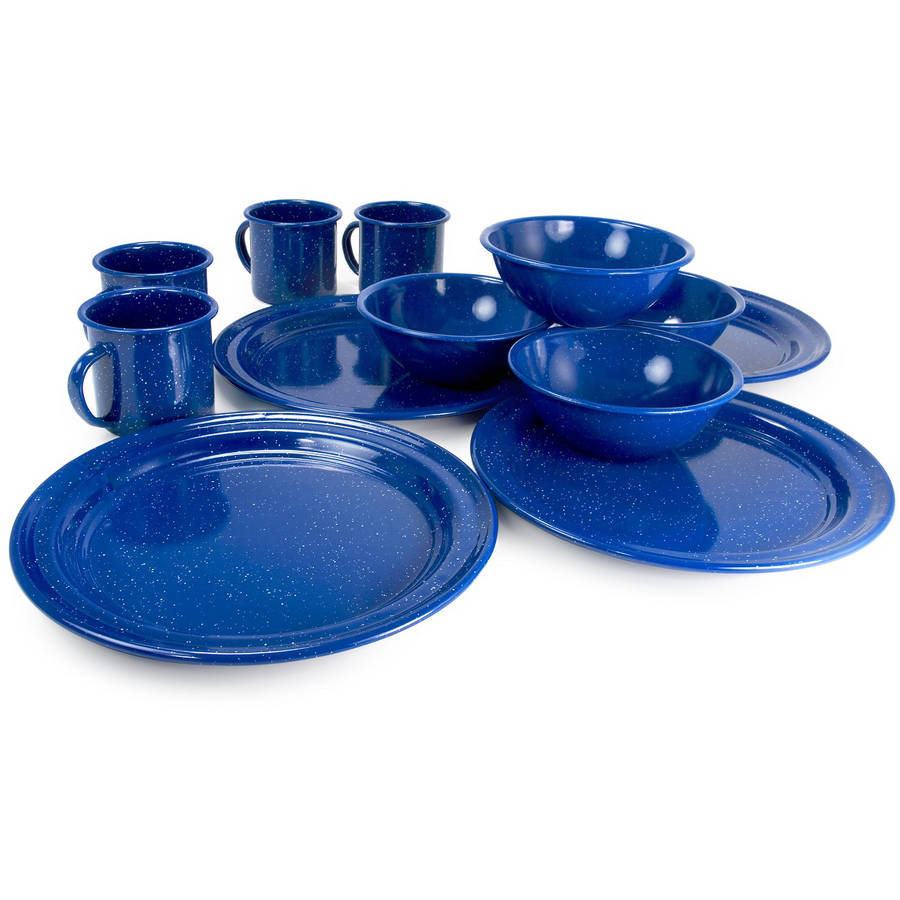 Click here to buy Alpine Mountain Gear 4-Person Enamel Dinning Set by Alpine Mountain Gear.