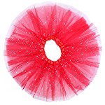 12''Girls Ballet Tutu Skirt Fluffy Tulle 3 Layered Sequins Stars/Kids Princess Tutu Dress Party Favor Shiny Dance Tulle Skirt For 2-9 Years (red)