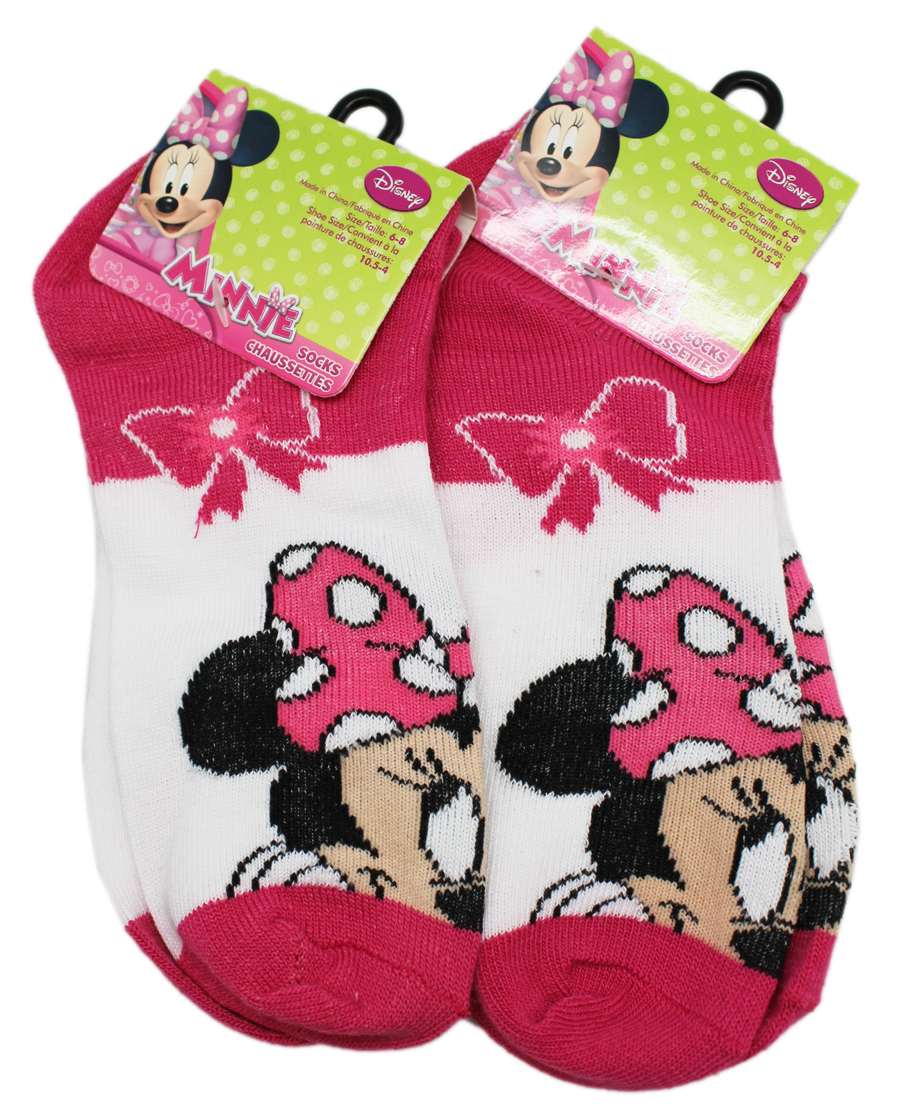 Disney's White and Hot Pink Kids Sock Set (2 Pairs, Size 6-8)