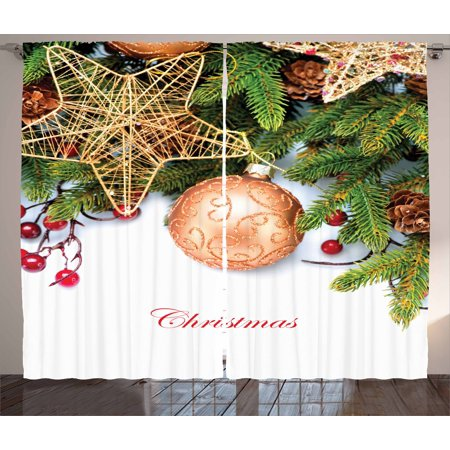 Christmas Curtains 2 Panels Set, Holly Berries Tree Topper Baubles Vintage Seasonal Ornaments Pine Image, Window Drapes for Living Room Bedroom, 108W X 108L Inches, Bronze Ruby Emerald, by Ambesonne (Kichler Bronze Tree)