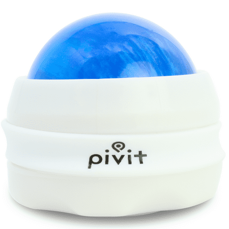Pivit Manual Massage Roller Ball | Self Full Body Handheld Mini Back Massager for Athletes and Sore Muscle Pain Relief Recovery | Relaxing Essential Oils or Lotion Therapy for Arms Hands & Legs (Blue) ()