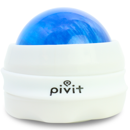 Pivit Manual Massage Roller Ball | Self Full Body Handheld Mini Back Massager for Athletes and Sore Muscle Pain Relief Recovery | Relaxing Essential Oils or Lotion Therapy for Arms Hands & Legs (Blue)