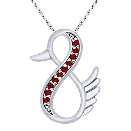 Duck Infinity Pendant Necklace In 14K White Gold Over Sterling Silver By Jewel Zone US