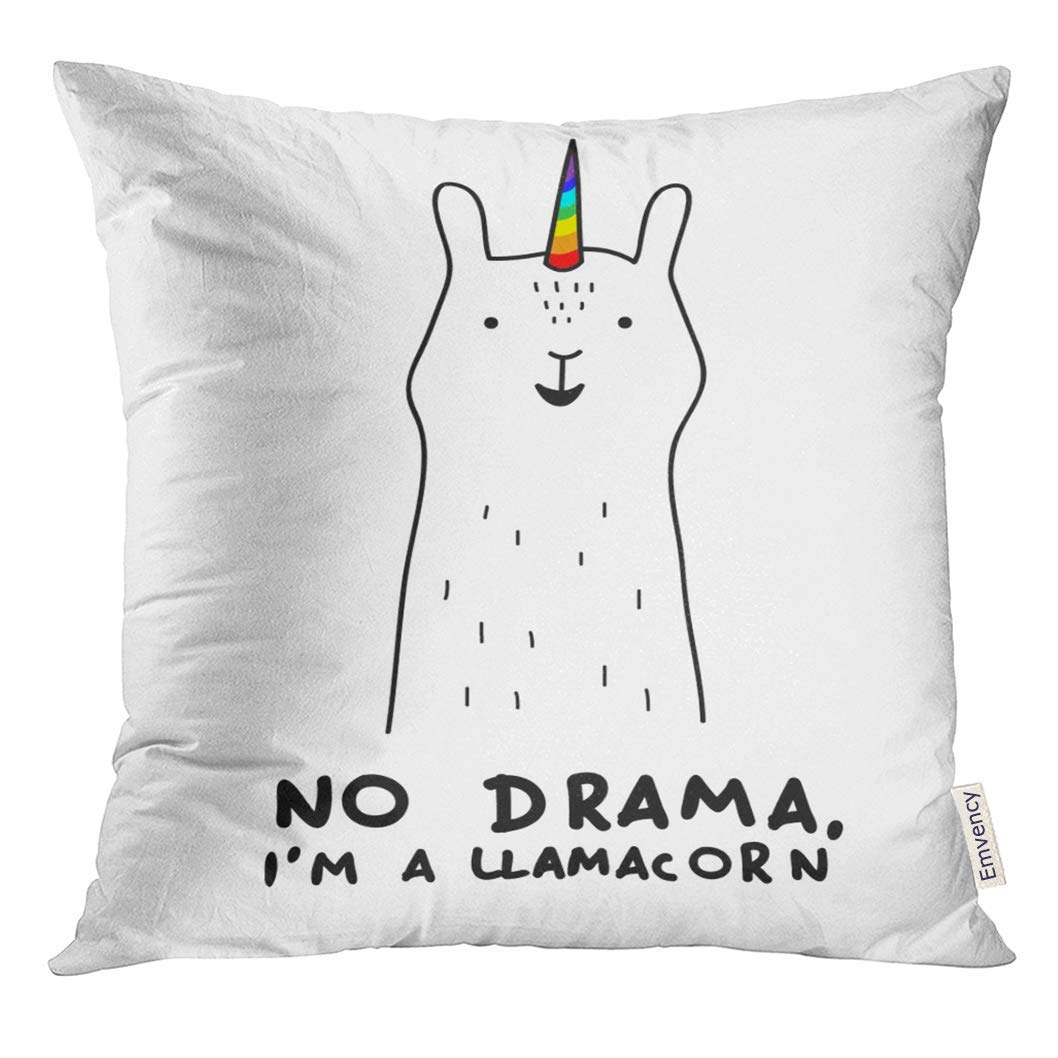 CMFUN Simple Cute Smiling White Llama and Unicorn Hybrid Drawing Rainbow Magic Horn for Wall Text No Drama I'm Pillow Case 16x16 Inches Pillowcase