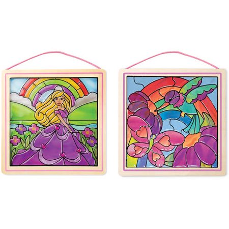 Made Easy Learning Kit - Melissa & Doug Stained Glass Made Easy Activity Kits Set - Rainbow Garden and Princess
