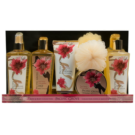 6pc Pacific Grove Bath & Body Gift Set Shower Gel Mist Bubble Scrub Lotion Pouf For Her Women - Champagne Bubble Bath