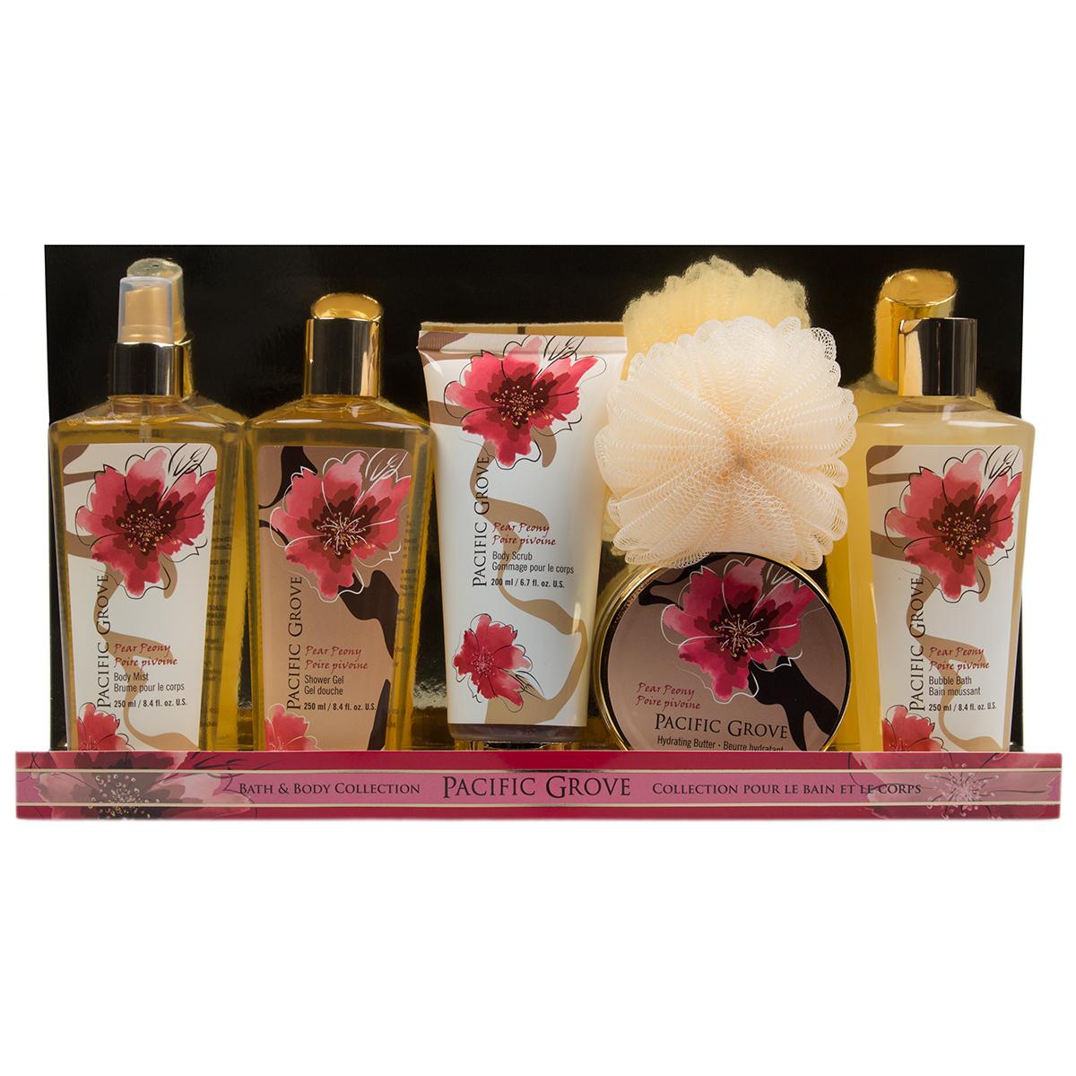 6pc Pacific Grove Bath & Body Gift Set Shower Gel Mist Bubble Scrub Lotion Pouf For Her Women
