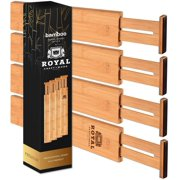 Adjustable Bamboo Drawer Dividers Organizers - Expandable Drawer Organization Separators For Kitchen, Dresser, Bedroom, Bathroom and Office, 4-Pack, 13.25-17.25 IN