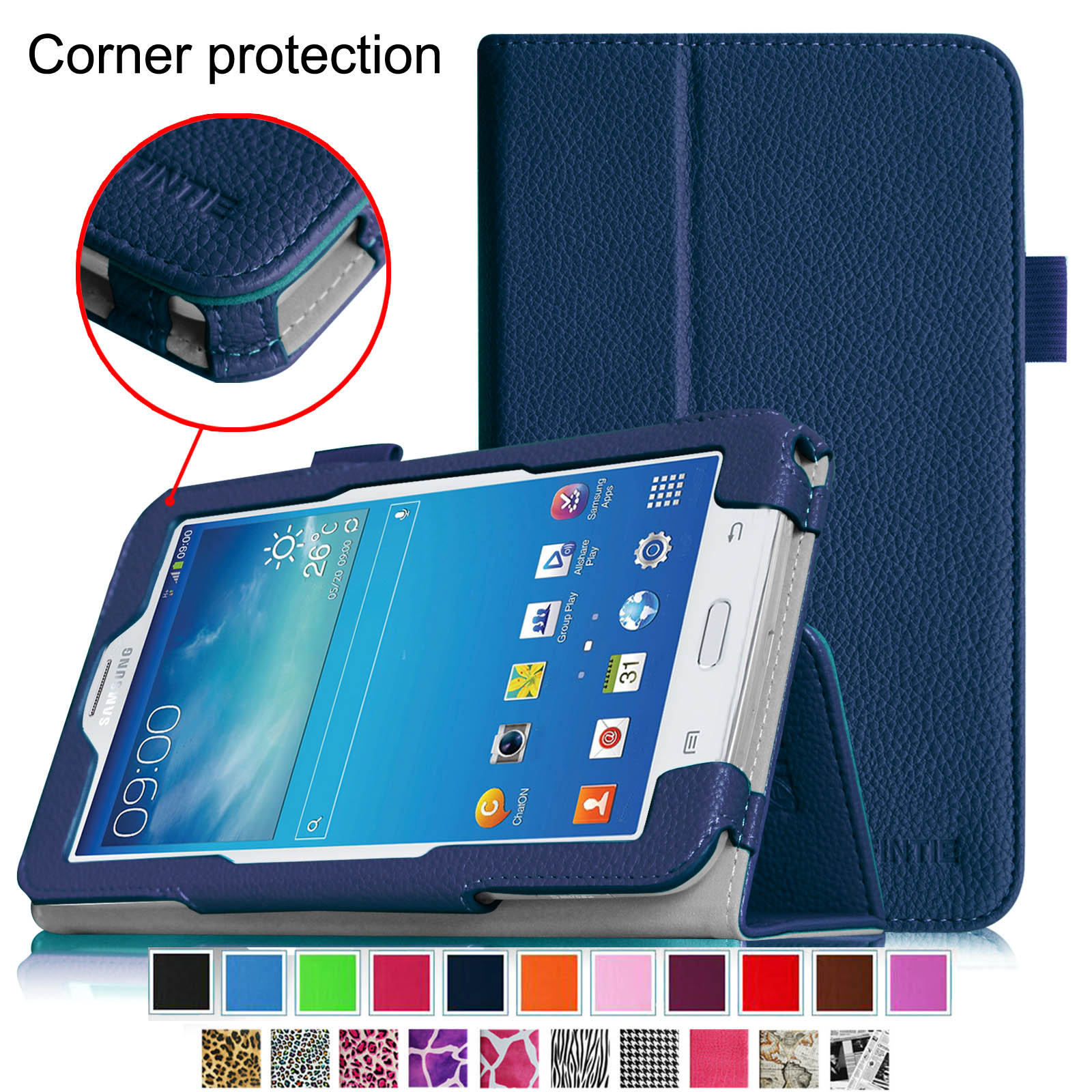 Fintie Folio Case for Samsung Galaxy Tab E Lite 7.0 SM-T113 / Tab 3 Lite 7.0 SM-T110 SM-T111 Tablet Stand Cover, Navy