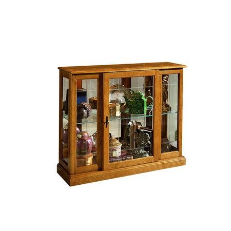 Home Fare Golden Oak Mirrored Curio Console ()