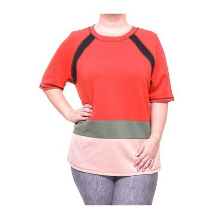 Anne Klein Womens Tomato Combo Short Sleeve T-Shirt Size XL Boy Womens Light T-shirt