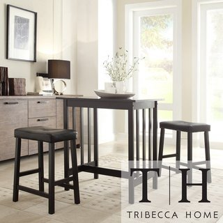 Tribecca Home Nova Black 3 Piece Kitchen Counter Height Dining Set