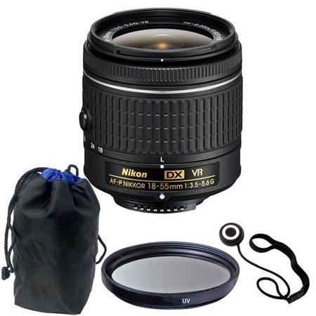 Nikon 18-55mm f/3.5 - 5.6G VR AF-P DX Nikkor Lens with 55mm UV for Nikon