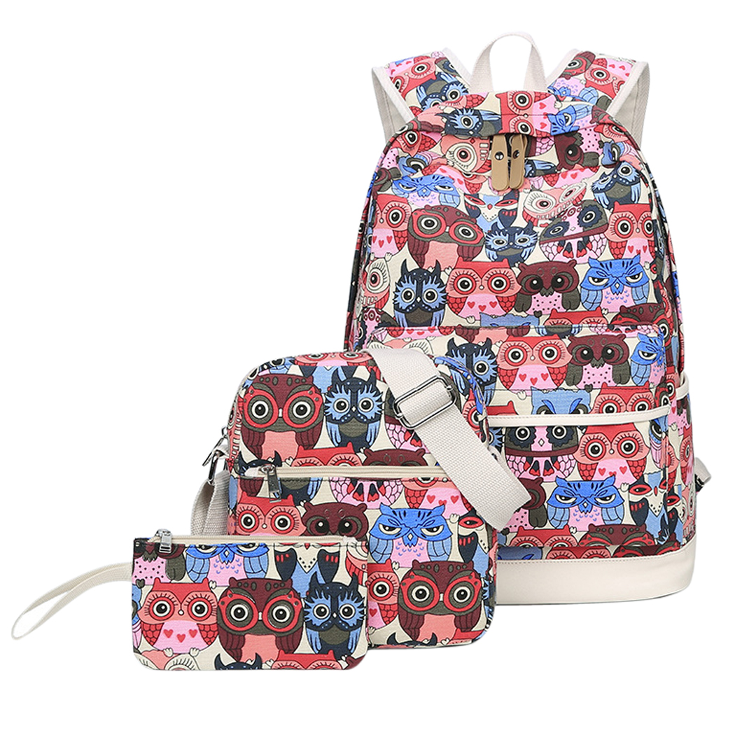 3 Sets Casual Backpack,Coofit Canvas Owl Bag Travel Rucksack Scool Backpack Shoulder Bag Small Wallet for Women Girls Students Kids