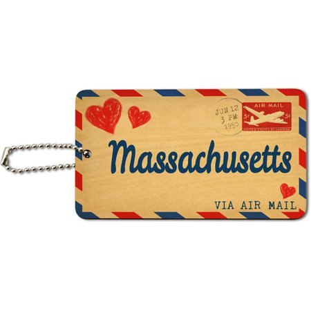 Air Mail Postcard Love for Massachusetts Wood ID Tag Luggage Card for Suitcase