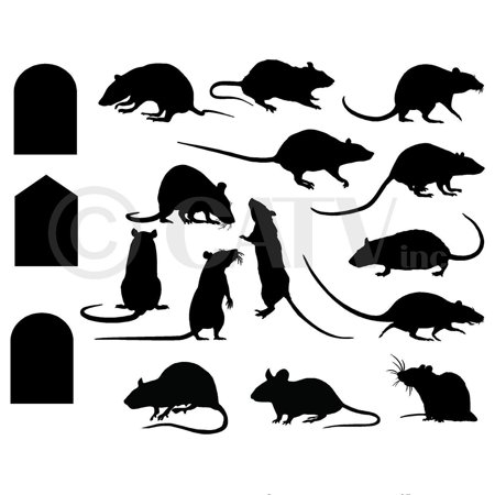 Rats Mice Doors set of 17 vinyl lettering decal home decor wall art saying halloween - Vinyl Halloween