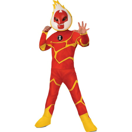 Ben Ten Costume (Boy's Deluxe Ben 10 Heatblast Halloween)