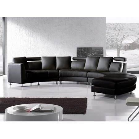 Excellent Beliani Curved Sectional Sofa Black Leather Rotunde Gmtry Best Dining Table And Chair Ideas Images Gmtryco