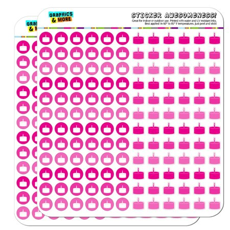 Birthday Cake Dots Planner Calendar Scrapbooking Crafting Stickers - Pink - Opaque