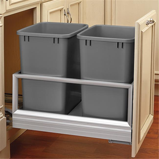 HD RS5149.1527DM.217 Rev-A-Shelf Door Mount Waste Pull Out With Double 27qt. Bins Silver
