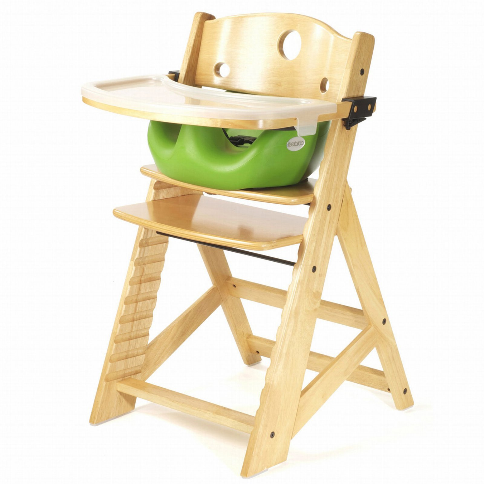 Keekaroo Height Right High Chair Natural with Lime Infant Seat & Tray
