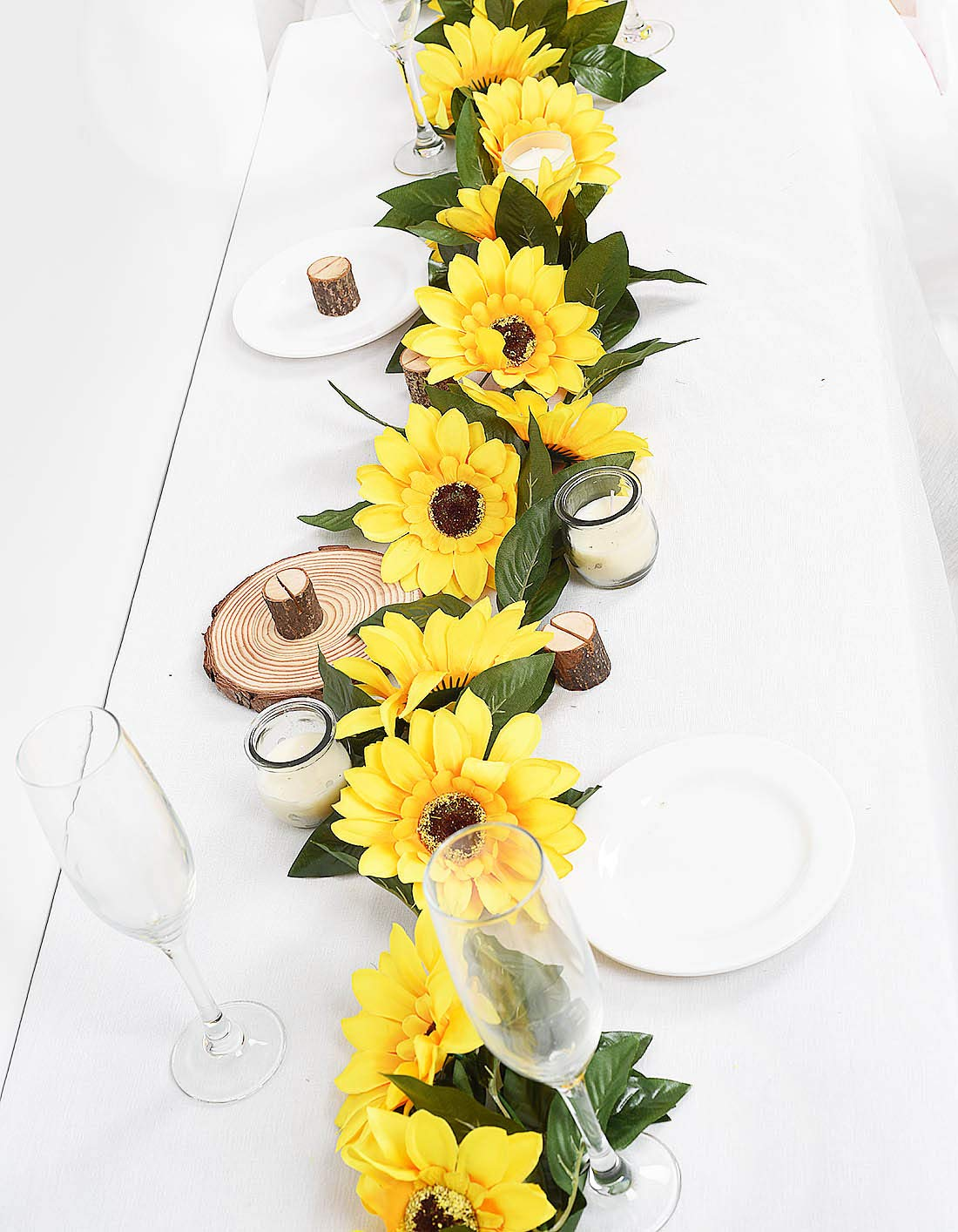Artificial Sunflower Garland Silk Sunflower Chain Vine For Wedding Table Decor