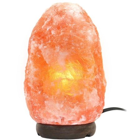 Greenco Natural Himalayan Rock Salt Lamp 6-11 lbs with Wood Base, Electric Wire, Dimmer Control & Bulb - Himalayan Salt Rocks