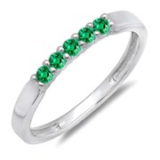 0.25 Carat (ctw) 14K White Gold Round Emerald 5 Stone Ladies Anniversary Wedding Band Ring 1 4 CT
