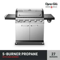 Dyna-Glo Propane Gas Grill Outdoor BBQ w/ Side Burner - Premier 5 Burner Stainless Steel