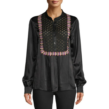 Sui by Anna Sui Women's Satin Combo Top Black Womens Tie