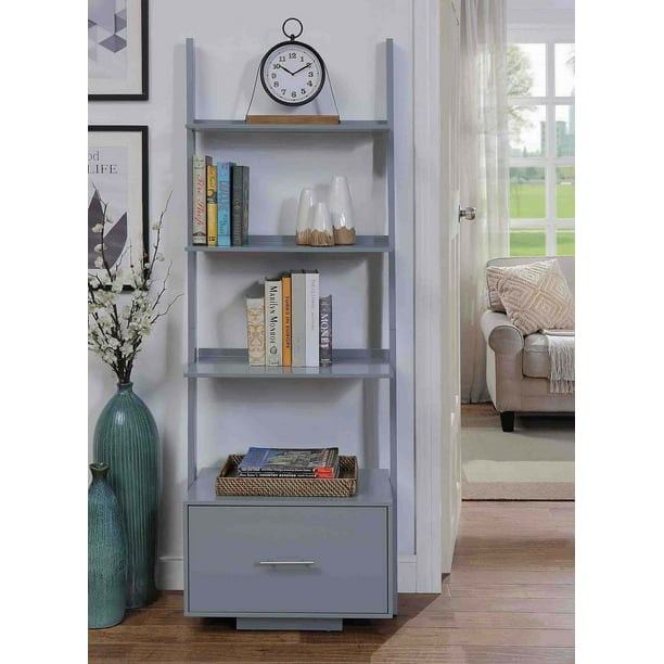 Convenience Concepts American Heritage Ladder Bookcase with File Drawer, Gray