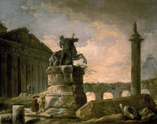 Architectural Landscape with Obelisk Poster Print by Hubert Robert by Bentley Global Arts Group