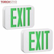 TORCHSTAR UL-listed Hardwired Double-faced LED Exit Sign with Rechargeable Battery for Office Buildings, AC 120V/277V, Green, Pack of 2