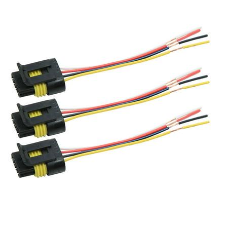3pcs DC12V 4 Pin Waterproof Car Motor Wiring Harness Connectors Socket on