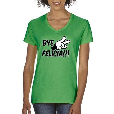 Trendy USA 432 - Women's V-Neck T-Shirt Bye Felicia Cartoon Hands Peace Funny Humor Friday Movie Medium Kelly Green](Black Cat Felicia)
