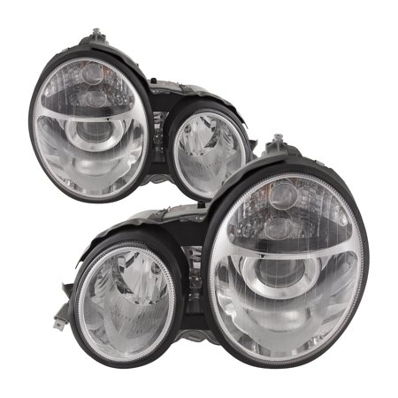 1996-1999 Mercedes Benz E-Class Projector Chrome Clear Lens New Headlights Set Left Right Pair Headlamps (Mercedes Benz Headlight Lens)
