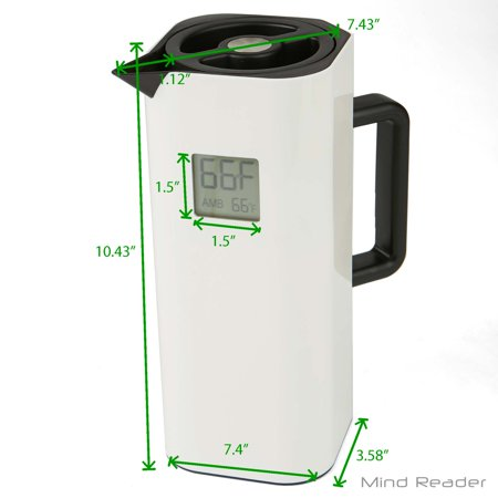 Mind Reader Double Wall Thermal Coffee Carafe with Temperature Display, White