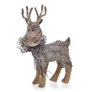 pack of 2 country rustic prancer the reindeer snowy birch bark christmas table top decorations 975 - Christmas Reindeer Decorations