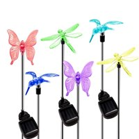 Garden Solar Lights Outdoor, 6-pack Solite Figurine Stake Light, Multi-Color Changing Decorative Landscape Lighting LED Hummingbird Butterfly Dragonfly for Patio Lawn Yard, Auto On/Off Dusk to Dawn