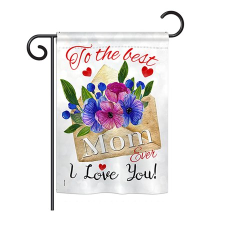 Breeze Decor - To the Best Mom Summer - Seasonal Mother's Day Impressions Decorative Vertical Garden Flag 13