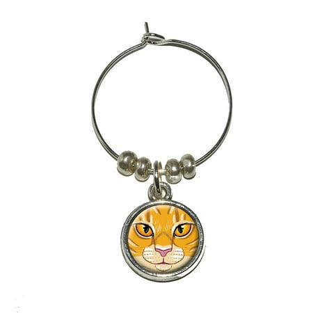 Orange Tabby Cat Face - Pet Kitty Wine Glass -