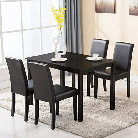 Uenjoy 4 Family 5 Piece Dining Table Set Chairs Wood Kitchen Dinette Room Furniture Black