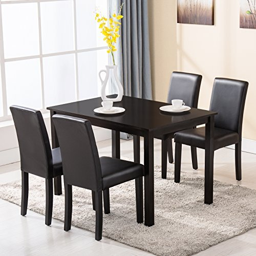 Uenjoy 4 Family 5 Piece Dining Table Set 4 Chairs Wood Kitchen Dinette Room  Furniture,