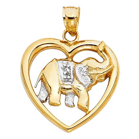 Polished 14K Solid Yellow Gold Elephant Heart - 14k Yellow Gold Elephant Pendant