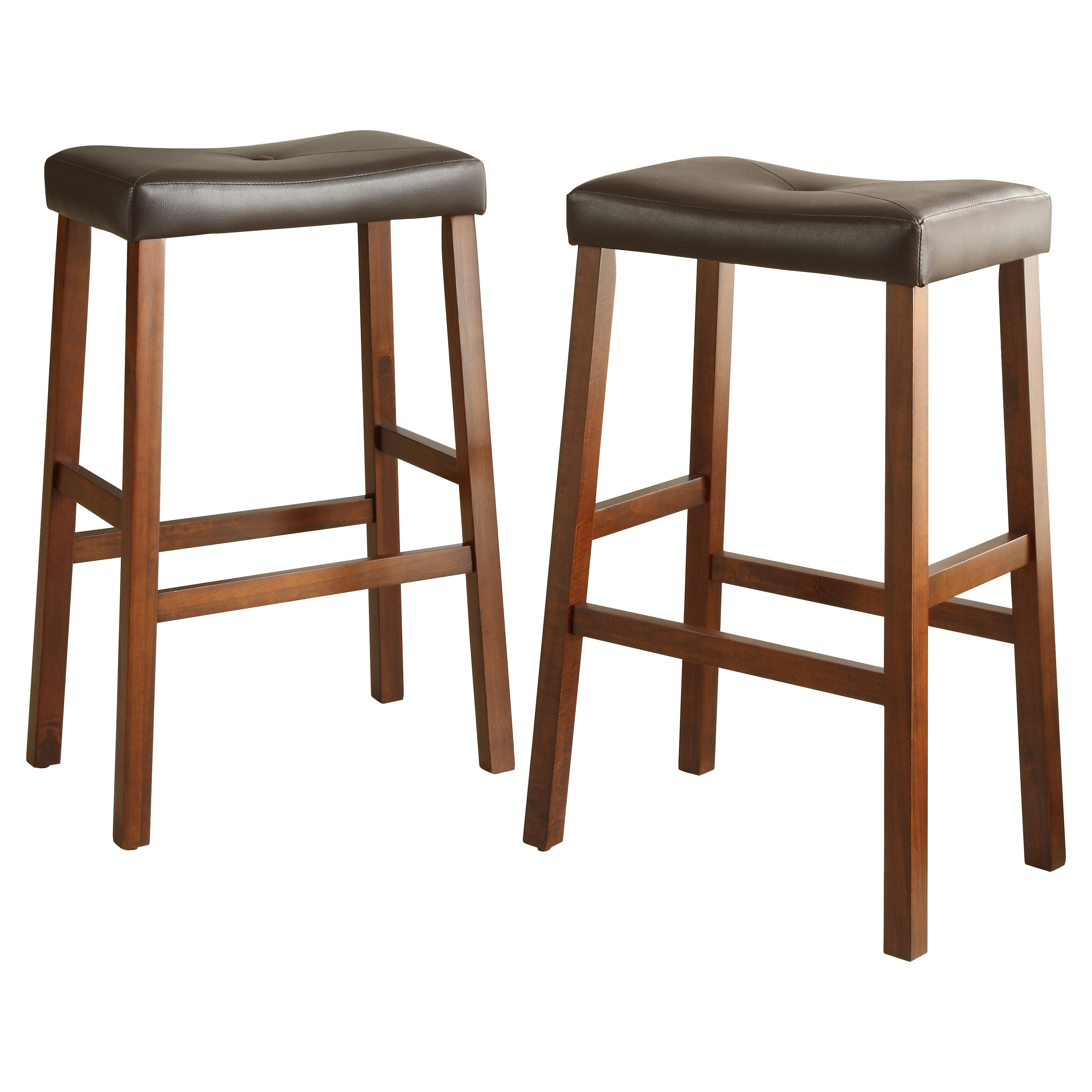 Weston Home Scottsdale Saddle Bar Stool Cherry - Set of 2